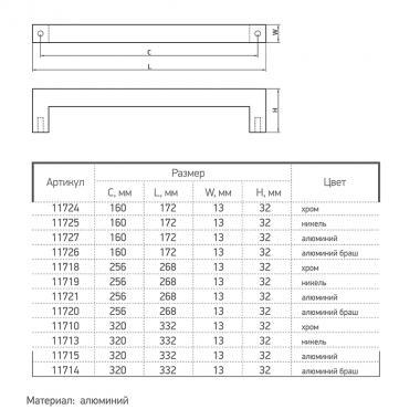 Ручка Ferro Fiori M 0020.256 алюминий браш