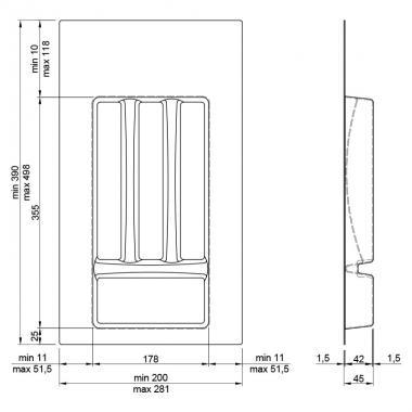 Лоток для столовых приборов 300-350мм серый Италия